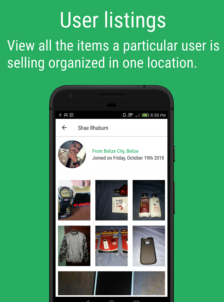 View all the items in a particular user
