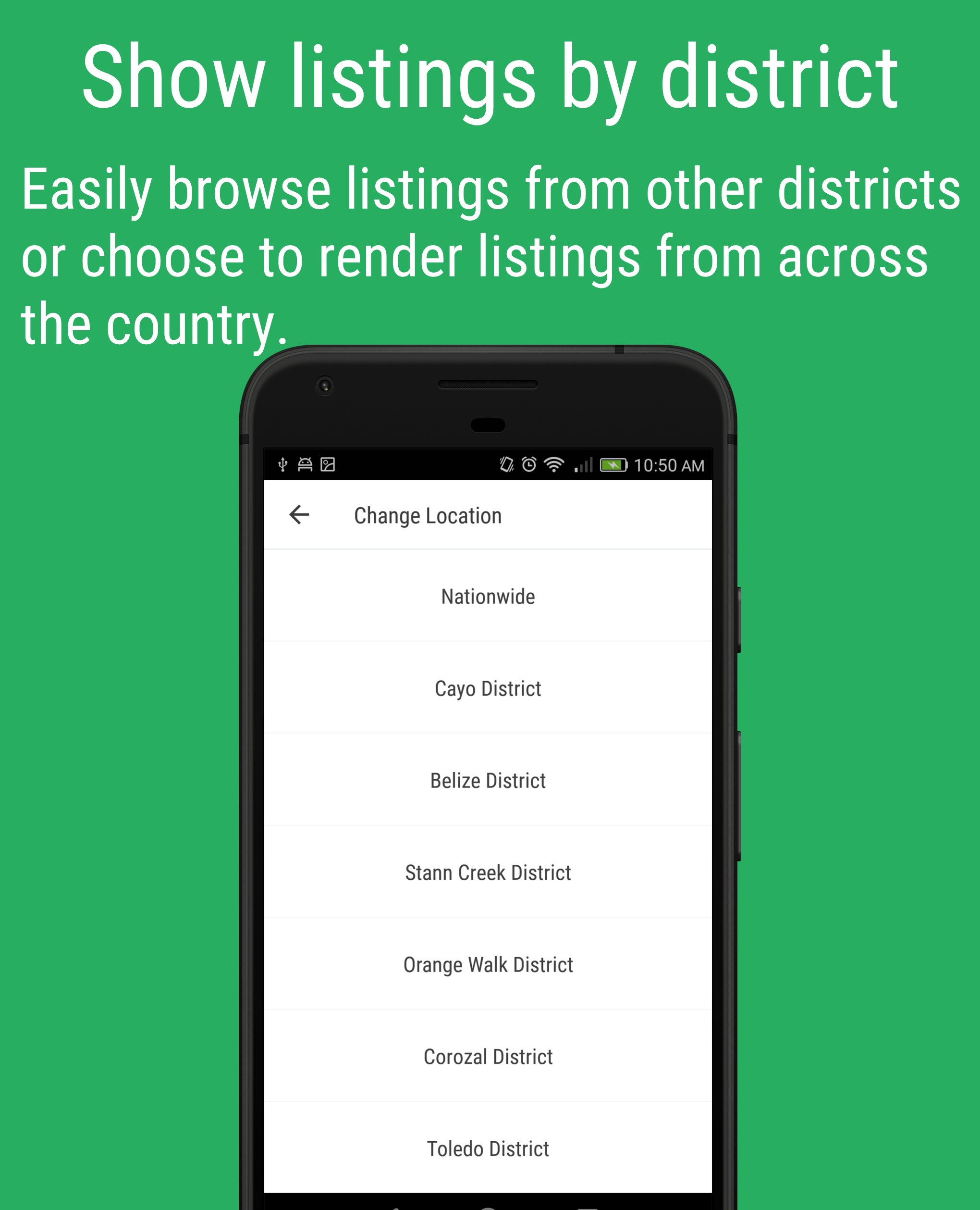 Showing listing by disctrics